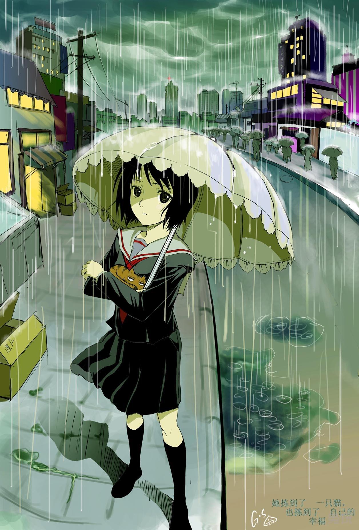 动漫雨伞美女 春天