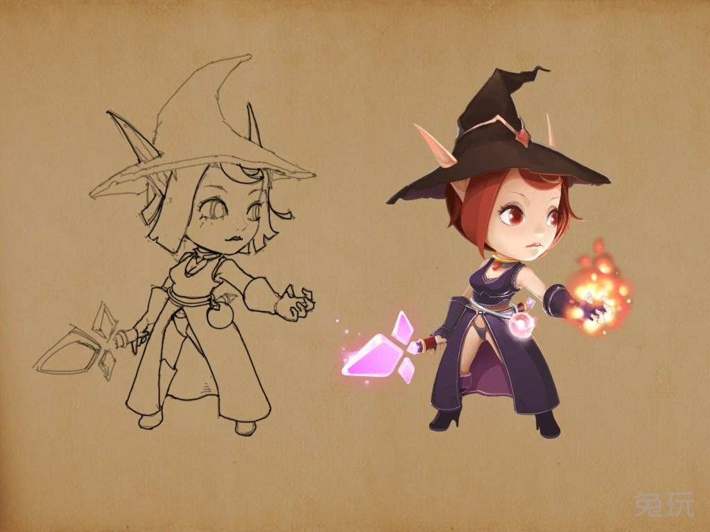 魔兽世界q版绘画:可爱的血精灵女法师